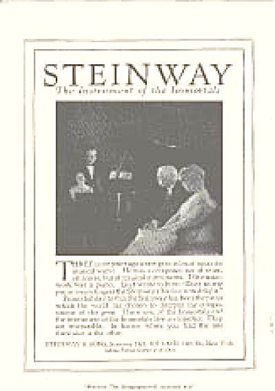 1920 Steinway Piano Immortals Ad