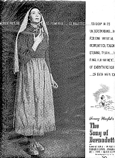 1944 Song Og Bernadette Franz Werfel Movie Ad (Image1)