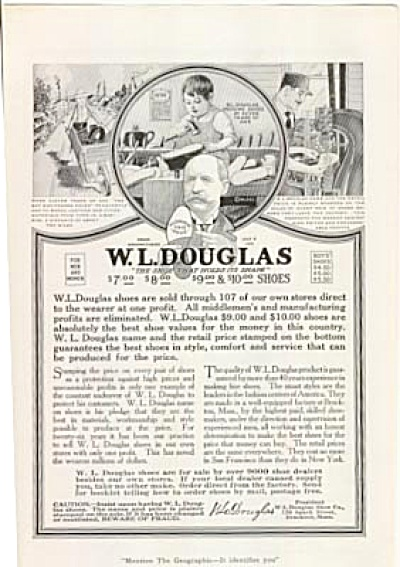 1920 W. L. Douglas  Boy Pegging Shoes Ad (Image1)