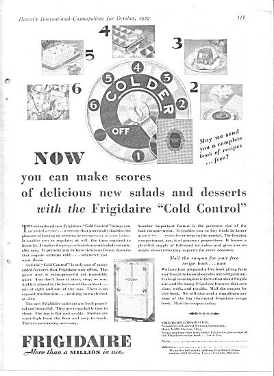 1929 Frigidaire Cold Control Refrigerator Ad (Image1)