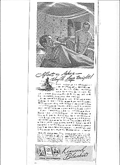 1942 Men in Bunks Wartime Blanket Pajama  Ad (Image1)