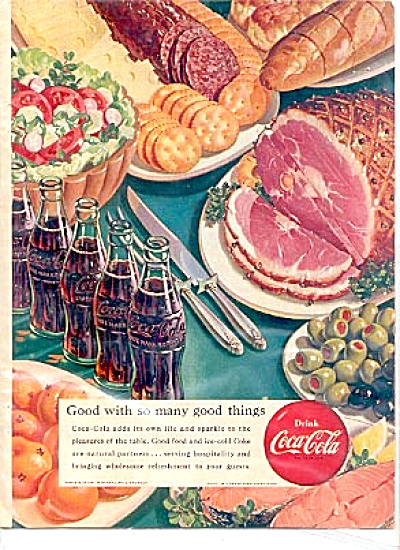 1951 Drink Coca-cola Ham Olives Crackers Ad