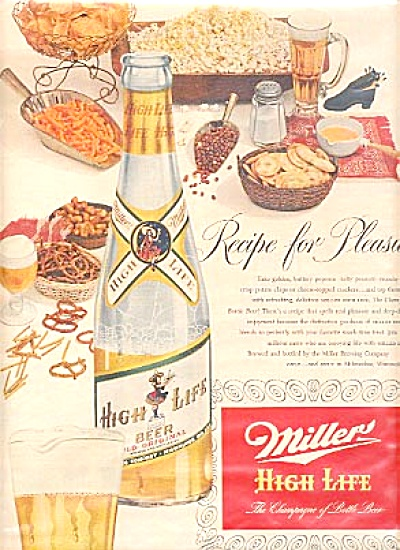 1952 Miller High Life Beer Bar  Ad (Image1)