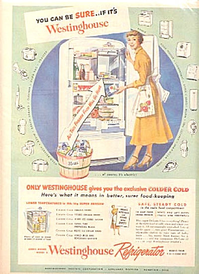 1949 Westinghouse Refrigerator Woman Ad (Image1)