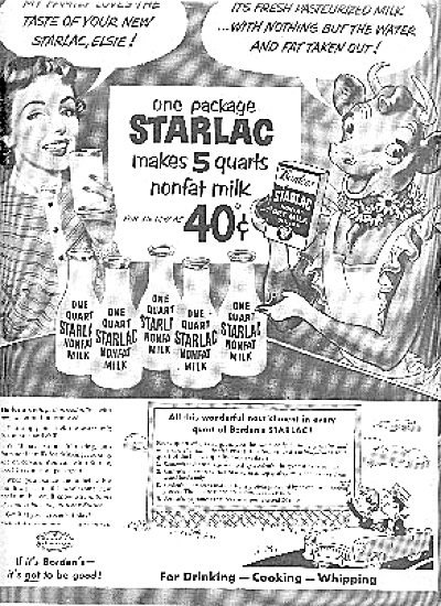 1952 Elsie  Cow Starlac Glass Milk Bottle Ad (Image1)