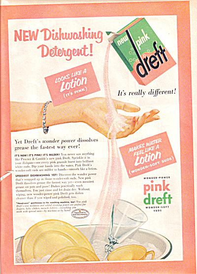 1955 Dreft Pink Dishwashing Detergent Ad (Image1)