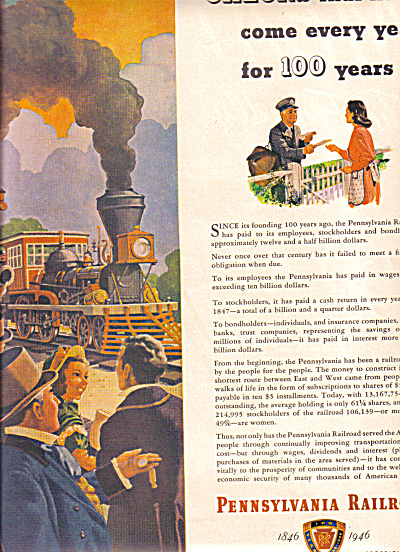 1946 100 Years of Pennsylvania Railroad Ad (Image1)