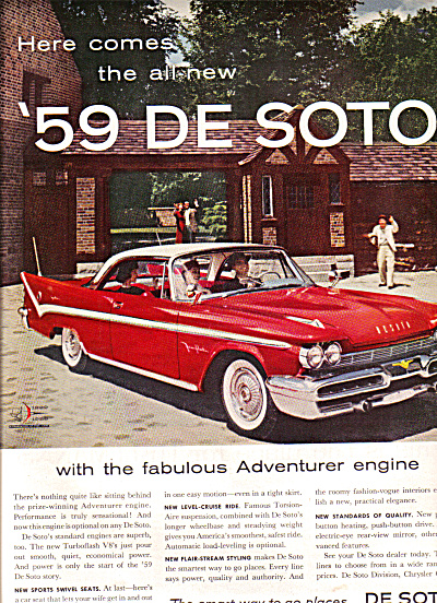 1959 Desoto TurboFlash V8 Red/White Car Ad (Image1)