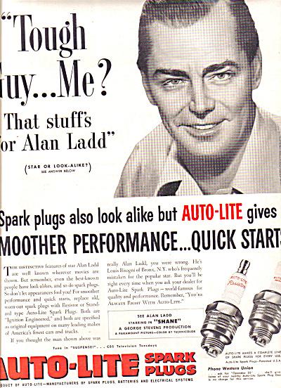 1953 Alan Ladd Auto-Lite Spark Plugs Ad (Image1)
