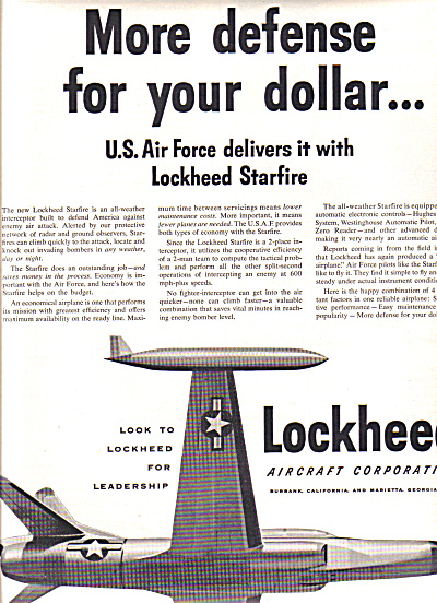 1953 U.s. Air Force Lockheed Aircraft Ad Starfire