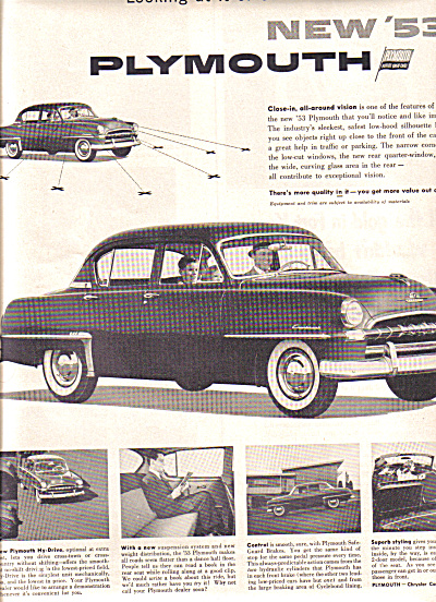 1953 Plymouth Chrysler Corporation Car Ad (Image1)