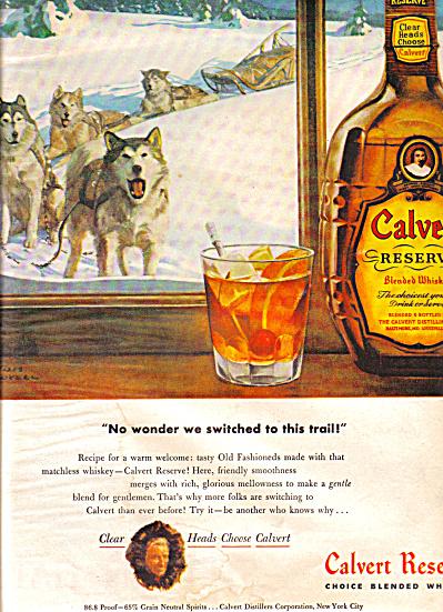 1948 Calvert Reserve Whiskey Husky Dog Ad (Image1)