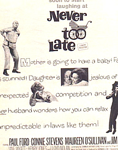 1966 Never Too Late Movie Ad Connie Stevens