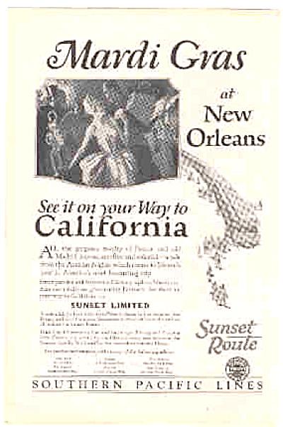1927 Mardi Gras Pacific Railroad Lines Ad (Image1)