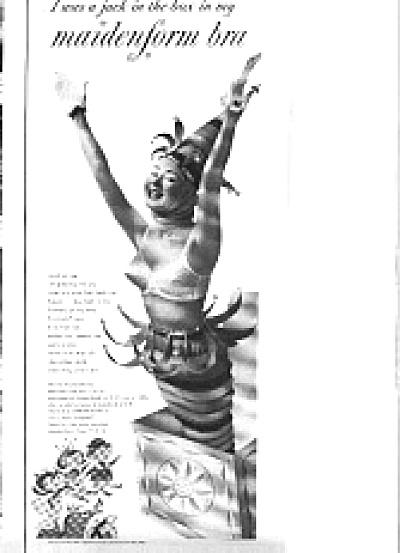 1954 Jack-In-Box Lady In Maidenfrom Bra Ad (Image1)