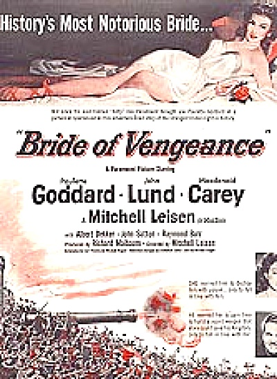 1949 Bride Of Vengeance Paulette Goddard Ad