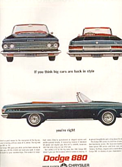 1964 Dodge 880 Convertible Car AD (Image1)