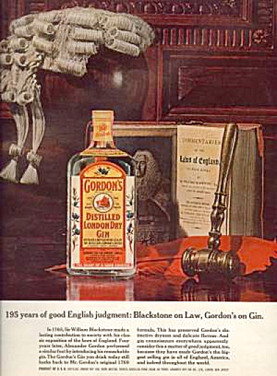 1964 GORDON�S GIN Sir William Blackstone Ad (Image1)
