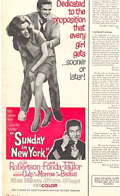 1964 Sunday Ny Movie Ad Jane Fonda Robertson
