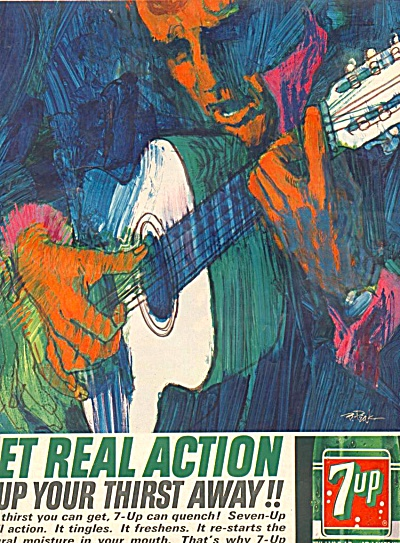 1964 7-UP Seven Up GUITARIST  Ad BOB PEAK ART (Image1)