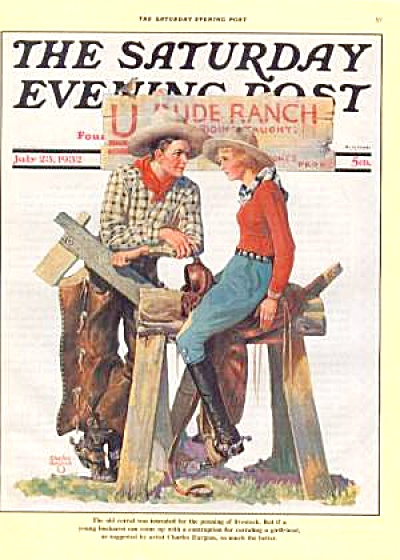 1988 SATURDAY EVENING POST Ad COWBOY COWGIRL (Image1)