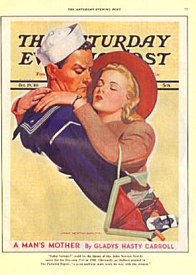 1988 SATURDAY EVENING POST Ad SAILOR KISSING (Image1)