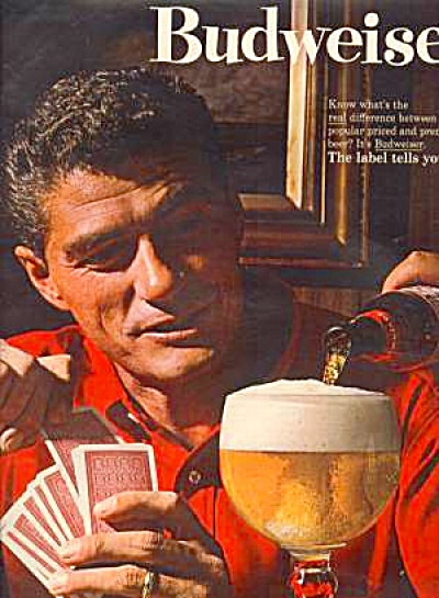 1964 BUDWEISER Card Playing Man Ad (Image1)