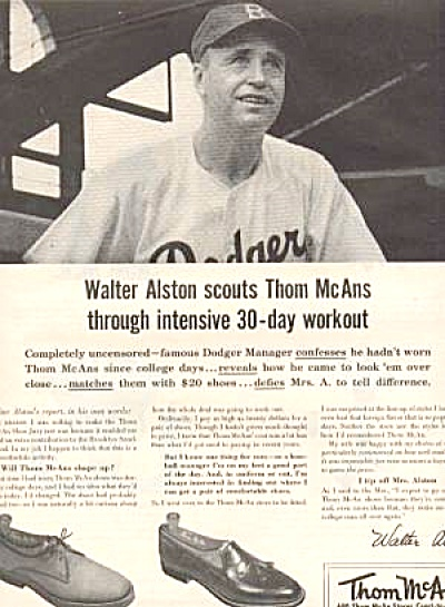 1956 Walter Alston Dodgers Thom McAn AD (Image1)