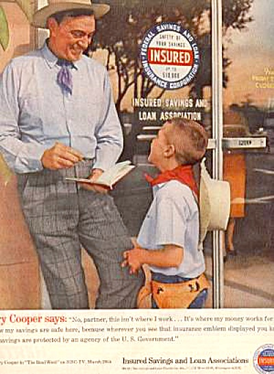 1961Gary Copper Insured Savings and Loan Ad (Image1)