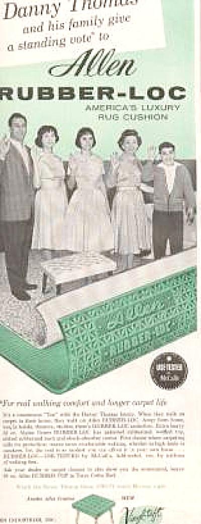 Allen Industries: Rubber Loc Rug Cushion Ad 1951