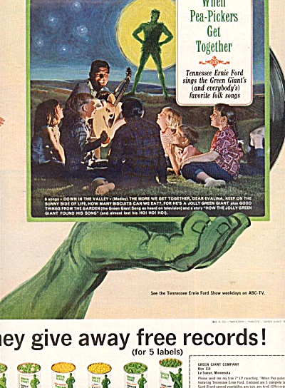 Vintage Green Giant Tennessee Ernie Ford Ad