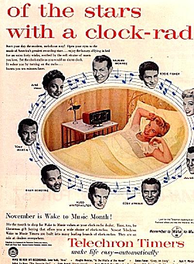 1956 TELECHRON Clock Radio Music Stars Ad (Image1)