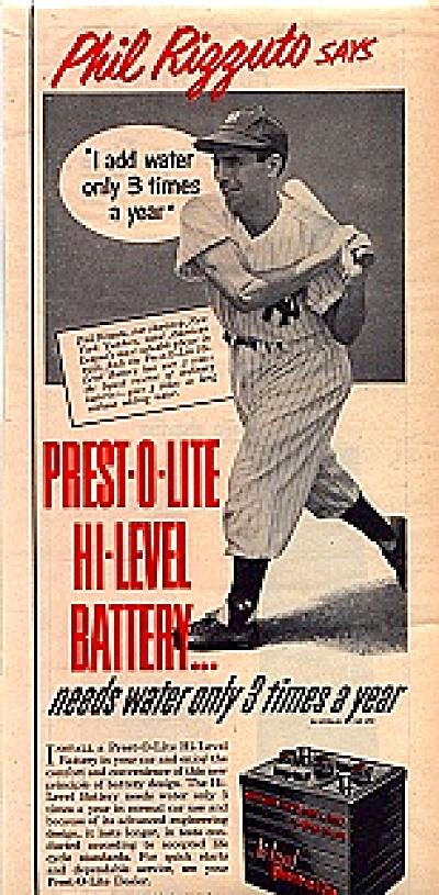 1951 Phil Rizzuto Prest-O-Lite Battery Ad (Image1)