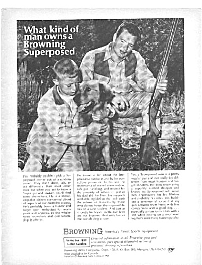 1968 Browning Gun Man Boy Dog Hunting Ad (Image1)