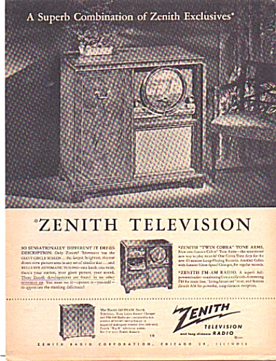 1949 Zenith Combination Televisions Radio Ad (Image1)