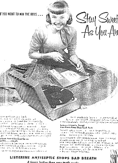 1954 Listernie With Phonograph And Girl Ad