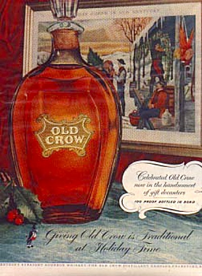 1954 Old Crow Kentucky Bourbon Holiday Ad