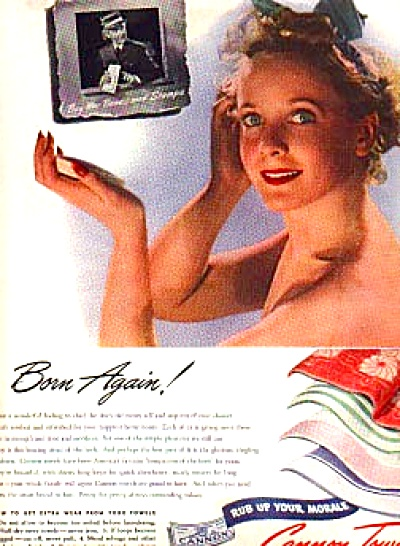 1943 Born Again Lady Cannon Towel Ad