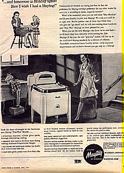 1945 Maytag Washer Woman Little Girl Ad (Image1)
