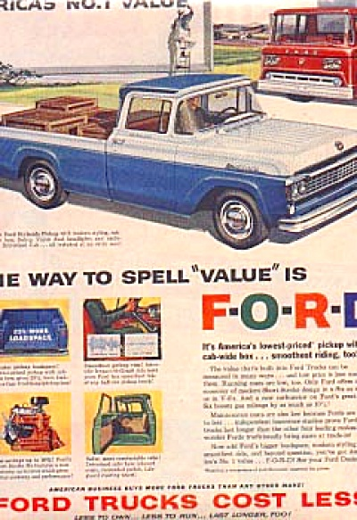 1958 Ford Styleside Pickup And Firetruck Ad (Image1)
