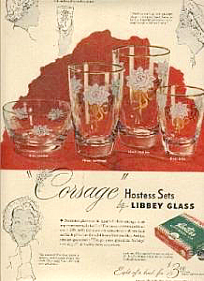 1949 Libbey Glass Corsage Glasses Ad