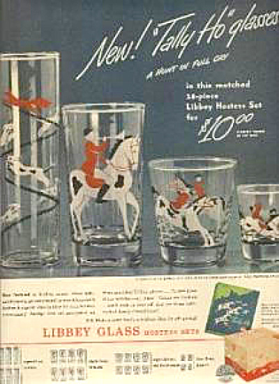 1946 Libbey Horse Tally Ho Glasses HUNTING (Image1)