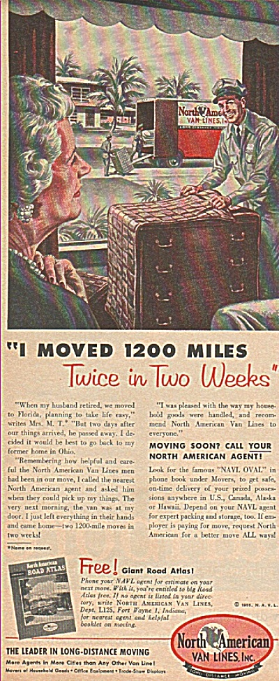North American Van Lines Inc. Ad 1955