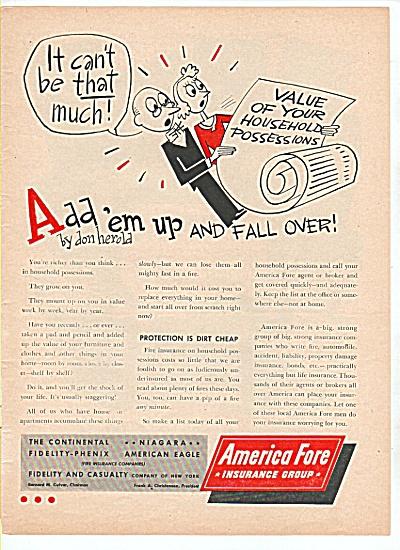 1947 America Fore Insurance AD  Don Herold Cartoon (Image1)