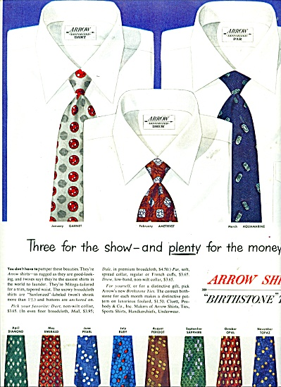 Arrow shirts - Birthstone ties ad - 1950 (Image1)