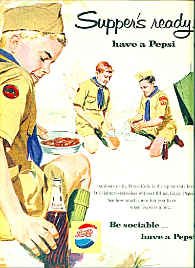 1960 3 Teen Boy Scouts Camping Out Pepsi Ad