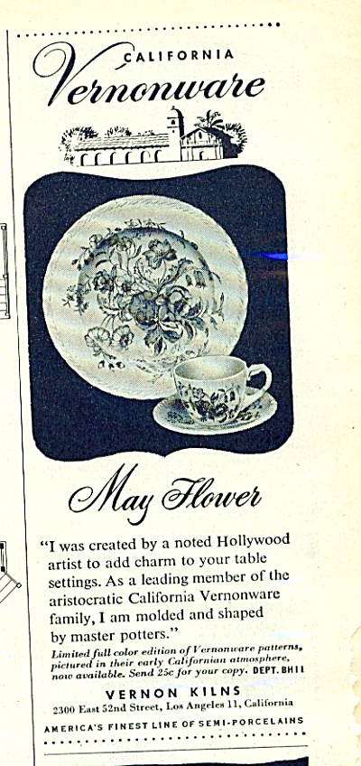 1947 May Flower Vernonware vernon dishes Ad (Image1)