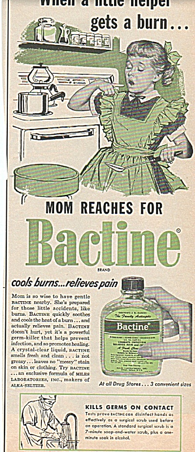 Bactine For Burns Ad 1956