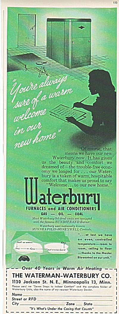 Waterbury furnaces & air conditioners ad 1950 (Image1)