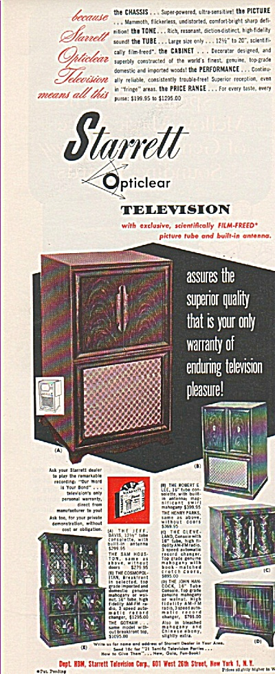 Starrett Opticlear Television Ad 1950
